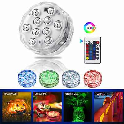 10 LED submersible Multi Color Waterproof Wedding Party Vase Base Light & Remote - Submersible Led