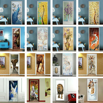 3D Animals Door Wall Sticker PVC Art Decal Home Decor Kids Room Mural Decoration](Door Decorate)