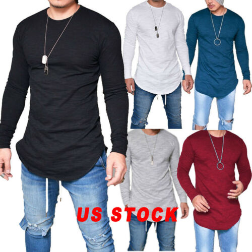 $9.99 - US STOCK Fashion Mens Slim Fit Neck Long Sleeve Muscle Tee T-shirt Casual Tops