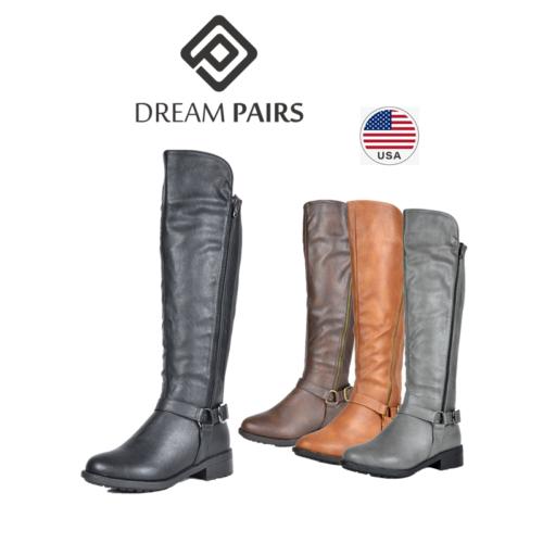 DREAM PAIRS Women Low Heel Zip Knee High Ladies Leg Calf Mot