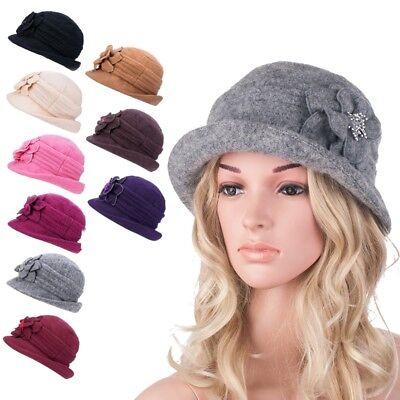 Women Gatsby 1920s Roll Brim Winter Floral Wool Beret Beanie Bucket Hat A299