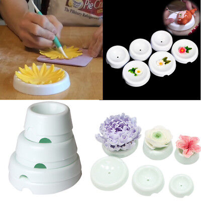 6Pcs Flower Fondant Forming Cups drying mold button-shaped Gumpaste Icing Decor - Flower Shapes