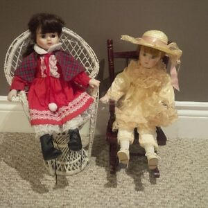 Pair of vintage mid sized dolls and chairs Kitchener / Waterloo Kitchener Area image 1