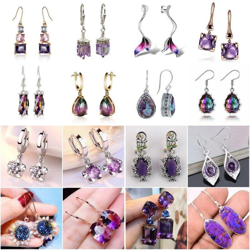 Fashion Women Gemstone Amethyst Wedding Engagement Earrings 925 Silver Jewelry