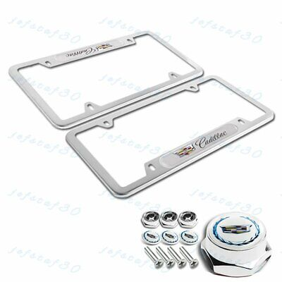 1 PAIR For CADILLAC Silver Metal Stainless Steel License Plate Frame + Cap Set