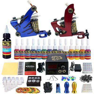 Tätowierung Komplett Tattoo Kit Set 2 Tattoomaschine 14 Farben inks Netzgerät Gerät Kit