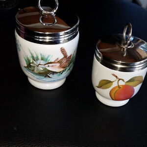 Two unused Royal Worcester egg coddlers in beautiful patterns