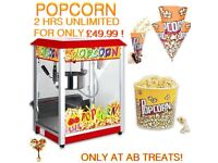 POPCORN MACHINE HIRE UNLIMITED FOR 2 HOURS ALSO CHOCOLATE FOUNTAIN SWEET FRUIT DISPLAY DESSERT SHOTS
