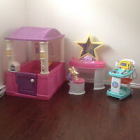 Play house, vanity and doctor's cart