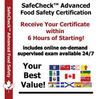 Food Handler Certificate $48 - Inludes Online Exam