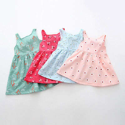 Summer Baby Girl Newborn Kids Sleeveless Flower Cotton Party Dress Outfit Top - Cotton Flower Girl Dresses