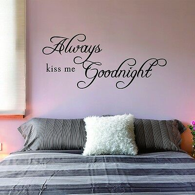 Home Decoration - Always Kiss Me Goodnight Wall Quote Removable Art Decal Vinyl Sticker Home Decor
