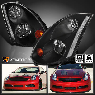 Fits 2003-2005 Infiniti G35 2Dr Coupe Factory HID Models Headlights Black Pair ()