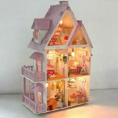 Kinder Geschenk Traum Große Villa Diy Holz Puppenhaus Licht Miniatur-Möbel