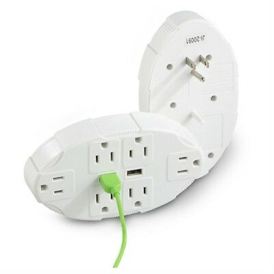 2 Usb Port Outlet Multiplier 6 Sockets Multiple Wall Plug Cell Phone Pad Charger