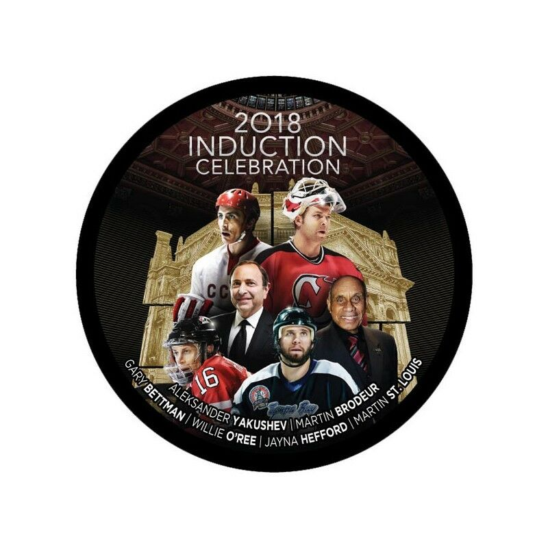 2018 Hockey Hall Of Fame Induction Hockey Puck Brodeur Hefford