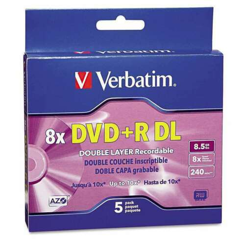 Verbatim Dual-Layer DVD+R Discs, 8.5GB, 8x, w/Jewel Cases, 5 Pack - NEW™