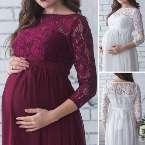 Dress - USA Pregnant Women's Lace Maternity Dress Maxi Gown Photography Photo Clothes