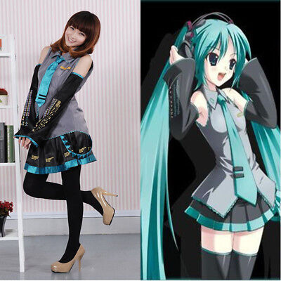 Anime Hatsune Miku VOCALOID Cosplay Costume Wig Tops Dress Tie Complete Outfits - Anime Outfit