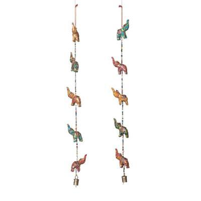Five Elephants - String of Five Fabric Elephants Mobile - Home Decor India Ornament Copper Bell