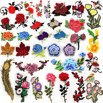 New Embroidered Flower Applique Iron On Sew On Patch Clothing Peony -