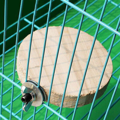 Wooden Mini Round Parrot Bird Cage Perches Stand Platform Pet Budgie Toy Gift