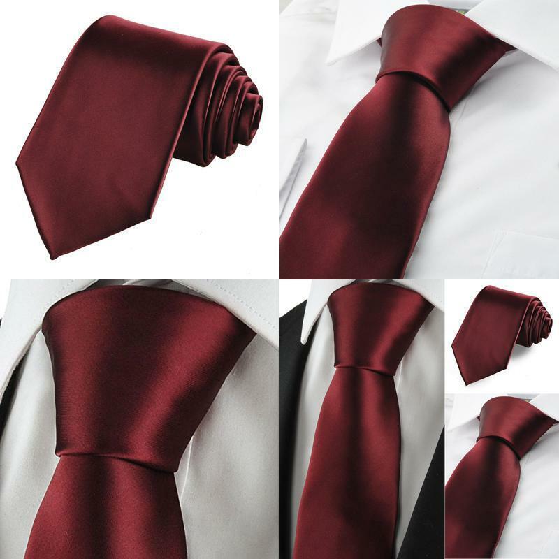 Kissties Solid Tie Set Satin Wedding Ties + Pocket Square +