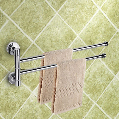 Swing Towel Rail (2Arm Stainless steel Double Swing Towel Rail Wall Towel Rack Adjustable Bathroom )
