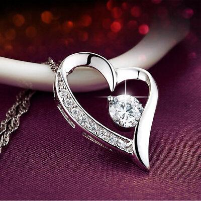 Halskette Herz Anhänger mit SWAROVSKI® KRISTALL Collier Echt 925 Sterling Silber