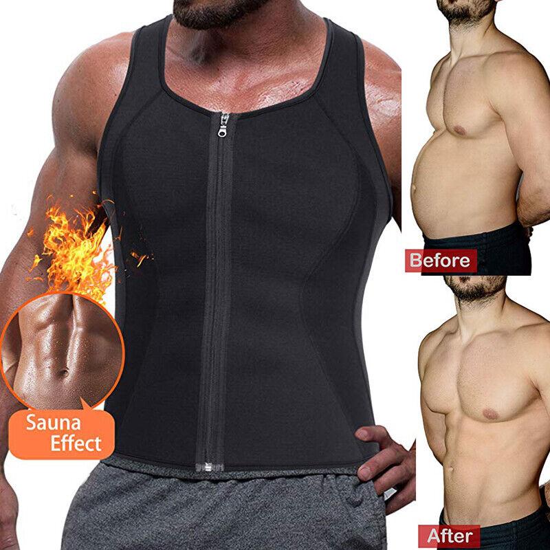 Men's Sweat Vest Body Shaper Zipper Slimming Sauna Tank Top