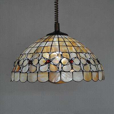 Tiffany Suspension Lamp - Retro Tiffany Flower Chandelier Fixture Stained Glass Suspension Lamp Light P764