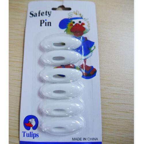 6 pcs Hijab Pin Set Fashion Plastic Safety Pin Abaya WHITE Islamic Scarf Pin