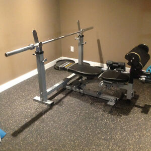 Olympic Style Bench, Bar and Dumbell Weight Set