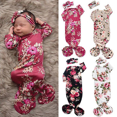 Girls Sleeping Bag Sets (US Flower Newborn Baby Girl Swaddle Wrap Blanket Sleeping Bag+Headband Set)