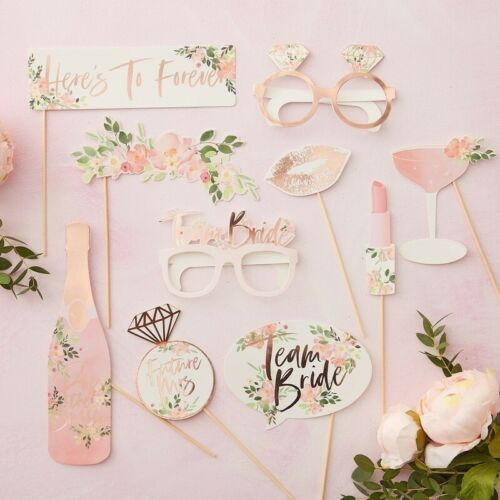 Team Bride PHOTO BOOTH PROPS Floral Bride to Be Rose Gold Hen Party 10pc Wedding