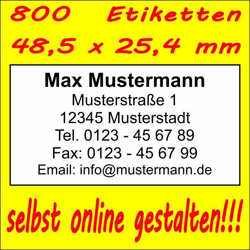 800 Absender Etiketten Adress-Aufkleber Adress-Etikett  Druck selbst gestalten