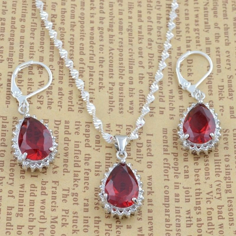 925 silver women red gemstone for pendant