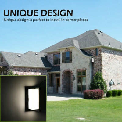 - Modern Outdoor Wall Sconce Square LED Porch Light Corner Wall Lamp Fixture US