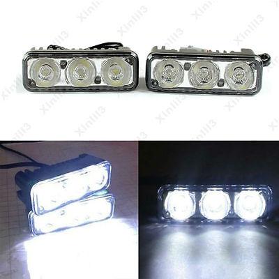 2x 3-LED White High Power Car Daytime Driving Light Fog Lamp 12V Distance Light