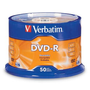 Verbatim DVD-R 4.7GB 16x AZO Recordable Media Disc - 50 Discs