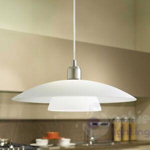 Lampadario moderno acciaio cromato vetro satinato lampada sospensione cucina ebay - Lampadari cucina moderni ...
