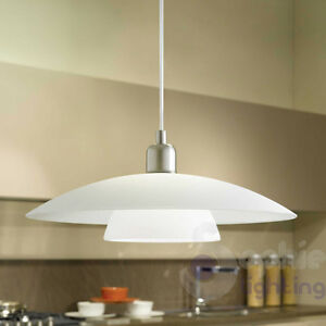 Lampadario moderno acciaio cromato vetro satinato lampada - Lampade per cucina moderna ...