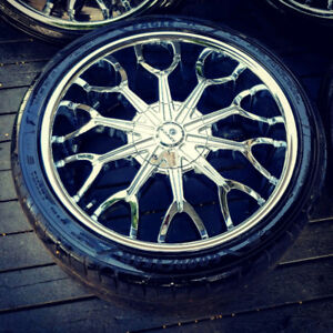 22 inch GORGEOUS CHROME RIMS WITH TIRES!!! 6X135 AND 6X139 BOLT