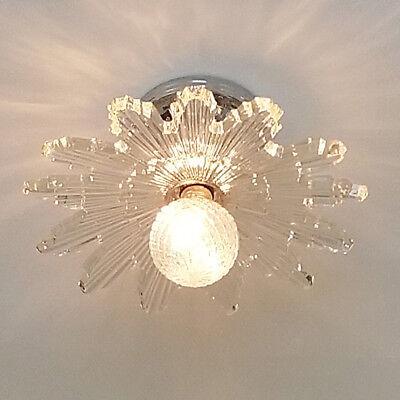 367b Vintage 30s 40's arT DEco STarburst CEILING LIGHT lamp fixture glass shade