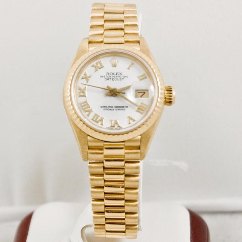 Rolex Ladys President 69178 Yellow Gold Watch White Roman Dial Box & Booklets