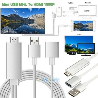 Mini USB MHL To HDMI 1080P TV Adapter Cable For iPhone 7 8 Samsung Galaxy S7 S8