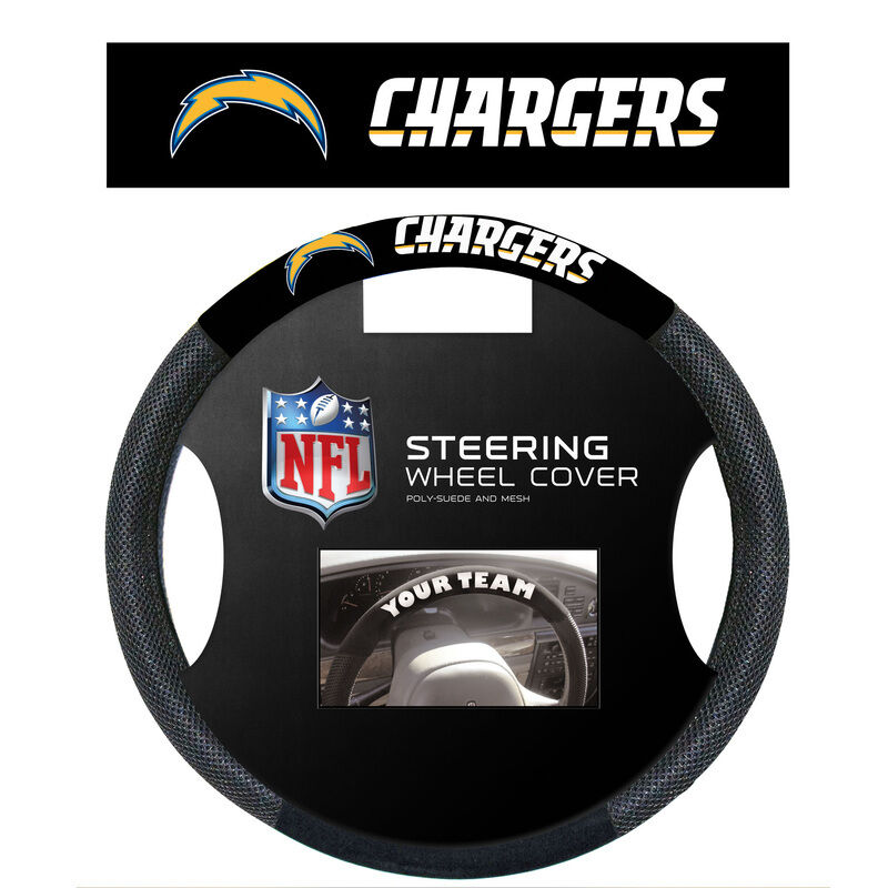 NFL Teams - Black Poly-Suede & Mesh Steering Wheel Cover