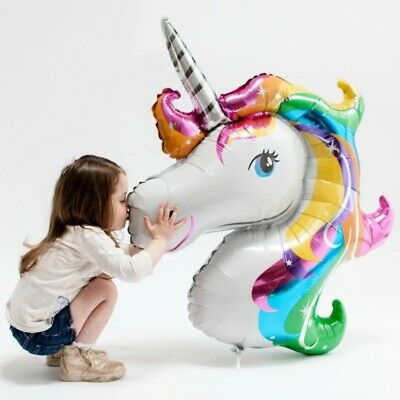 Rainbow Balloons (3D 70cm/110cm Large Rainbow Unicorn Head Balloon Shaped Horse Birthday Party)