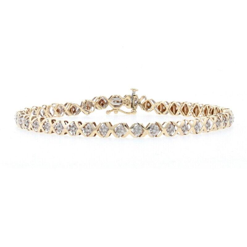 "Yellow Gold Diamond Link Bracelet 7 1/4"" - 10k Single Cut .50ctw Hugs & Kisses"