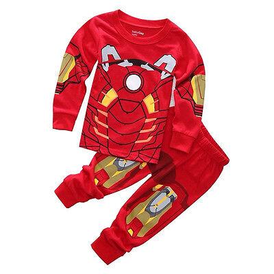 Iron Man Baby Kids Toddler Boy Cotton Pajama Set Long Sleeve Sleepwear Outfit - Iron Man Baby